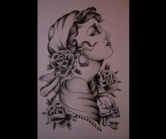 Gypsy Tattoo Pencil Drawing
