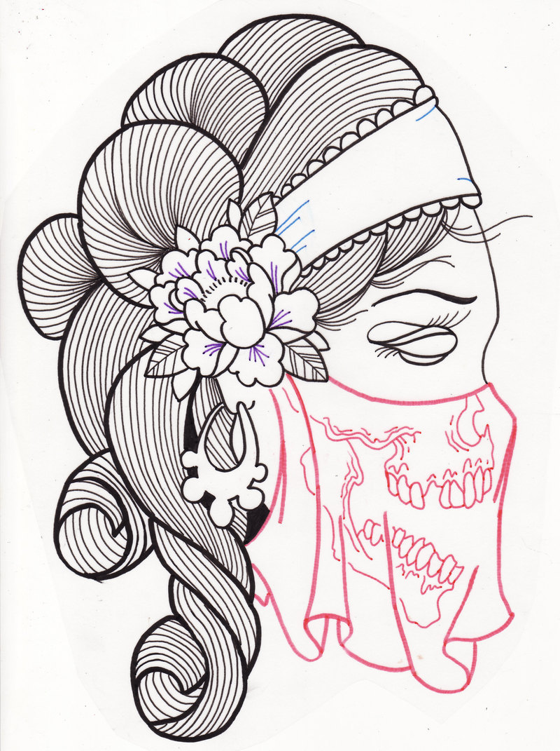 Gypsy Woman Sugar Skull Tattoo Design