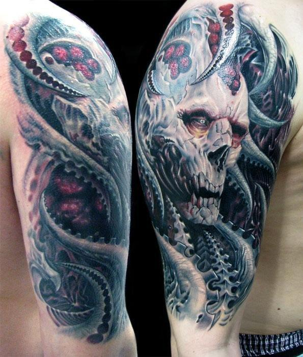 Half Sleeve Biomech Horror Tattoo Design For Men