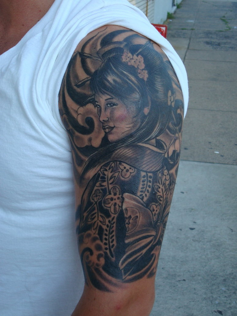 Half Sleeve Geisha Tattoo Design For Men