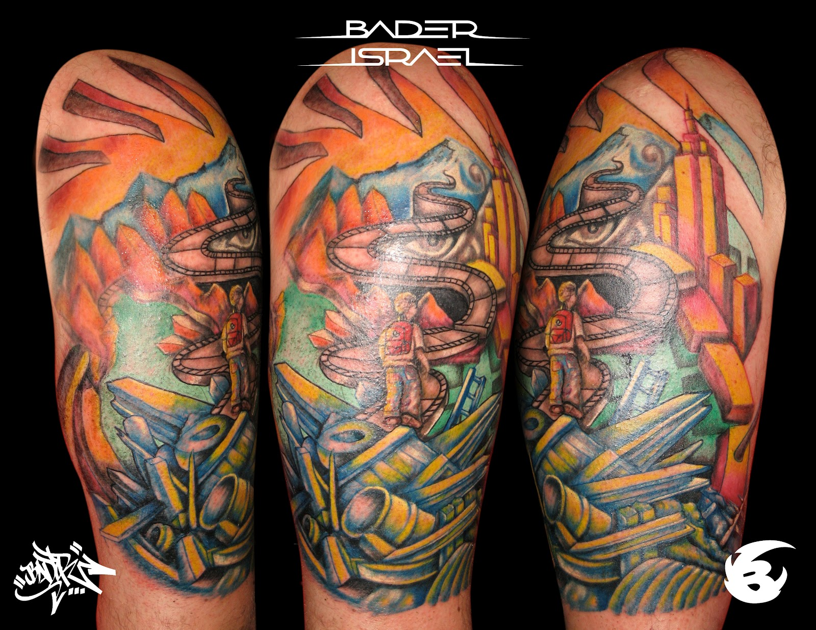 Half Sleeve Graffiti Tattoo Design