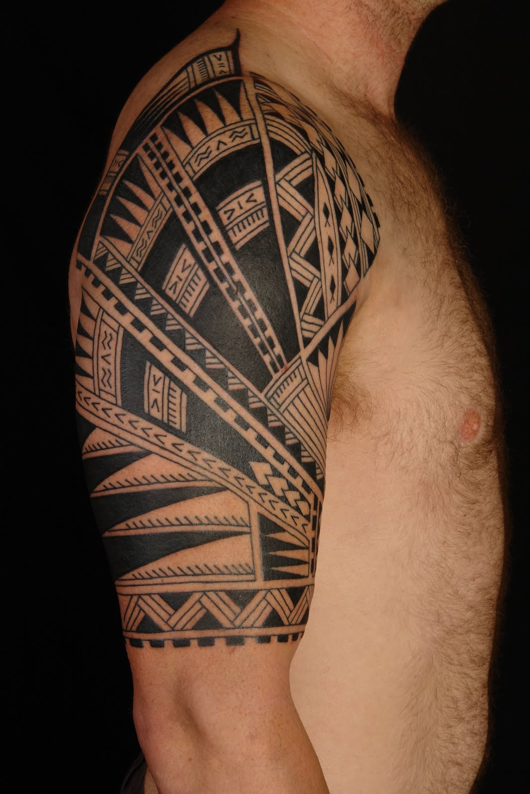 Half Sleeve Hawaiian Tattoo Design For Men