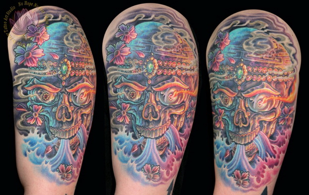 Half Sleeve Majestic Sugar Skull Tattoo Design