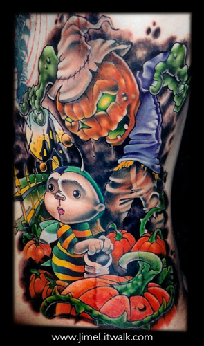 Halloween Pumpkin Patch Tattoo Design