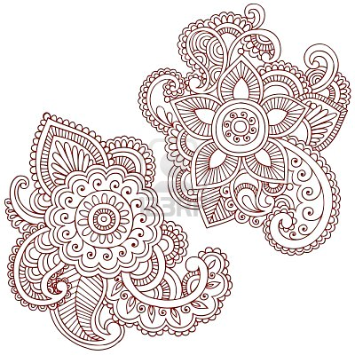 Hand Drawn Abstract Henna Tattoo Elements