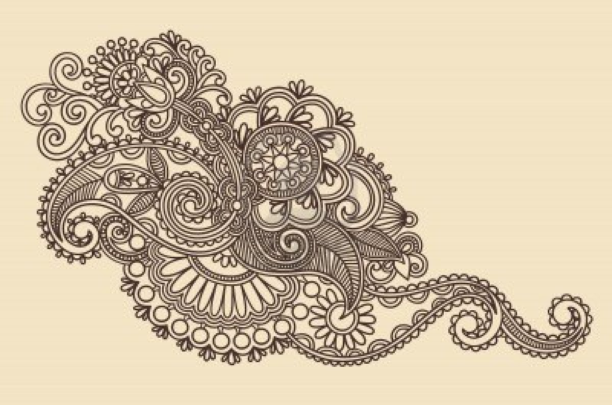 Hand Drawn Henna Flowers Tattoo Design