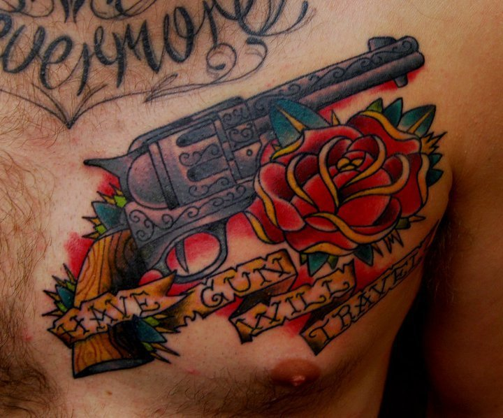Have Gun Will Travel Tattoo On Chest