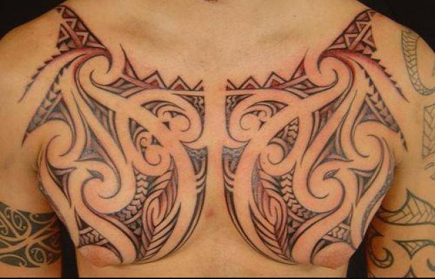 Hawaiian Chest Piece Tattoo Design For Men