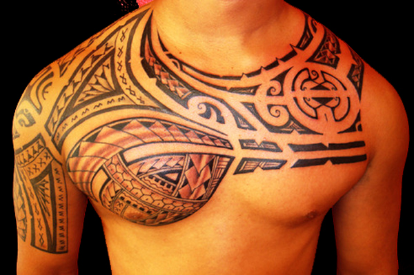 Hawaiian Tribal Tattoo On Chest For Men