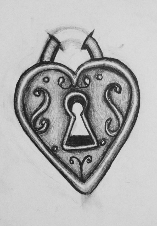 Heart Locket Tattoo Sketch