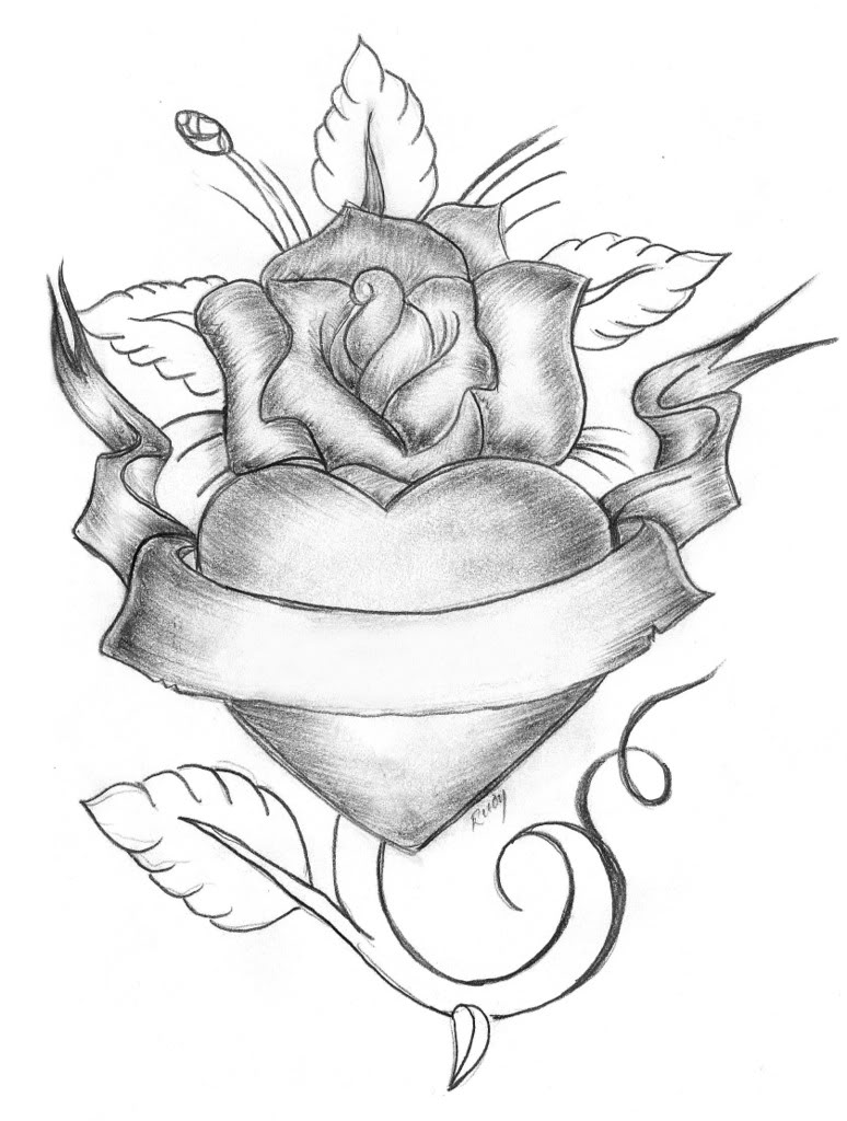 Heart n Rose Tattoo Sketch