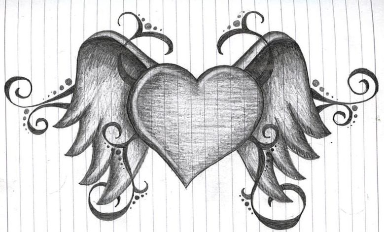 Heart With Wings Tattoo Sketch