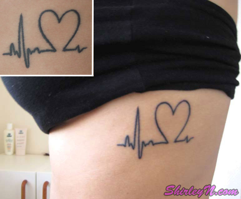 Heartbeat Tattoo On Side For Girls