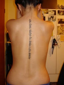 Hebrew Spine Tattoo For Girls
