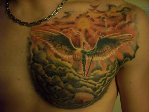 Helios Greek Sun God Tattoo On Chest
