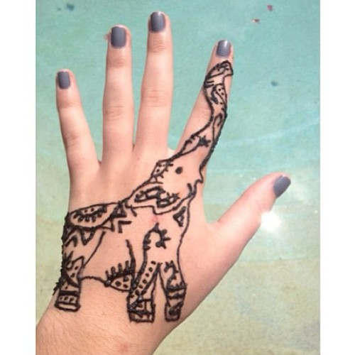Henna Elephant Hand Tattoo Design For Girls