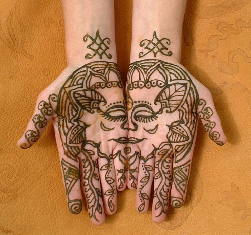 Henna Face Tattoo On Hands