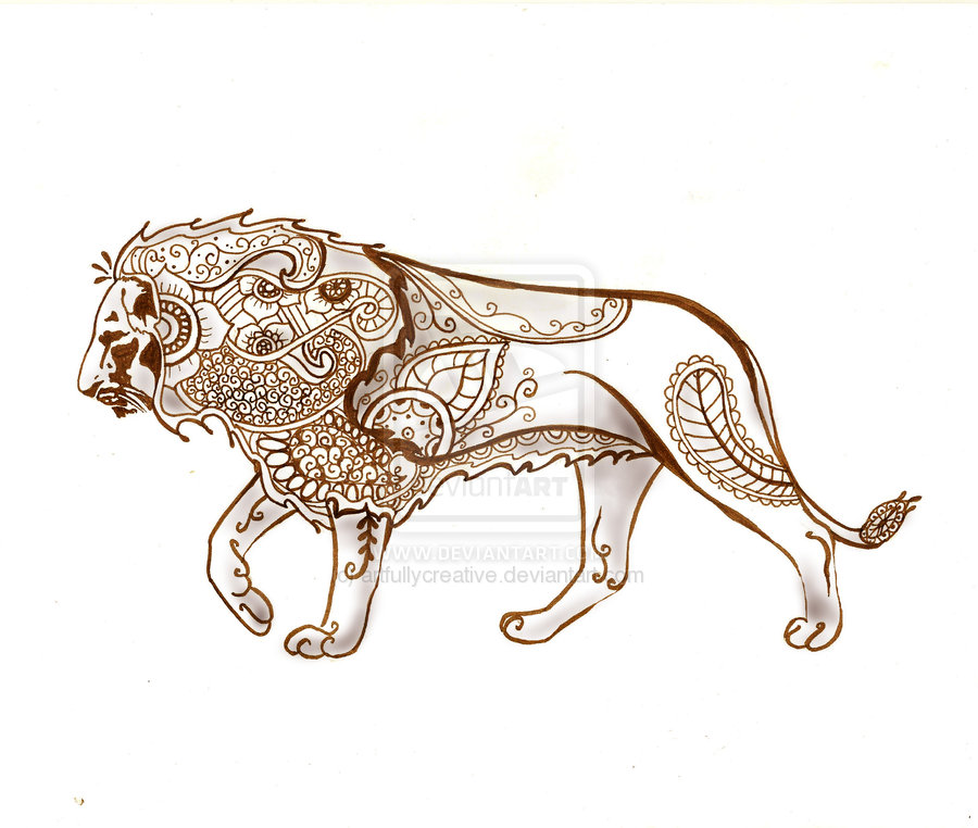 Lion henna tattoo designs
