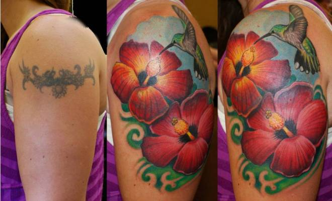 Hibiscus Coverup Tattoo Design