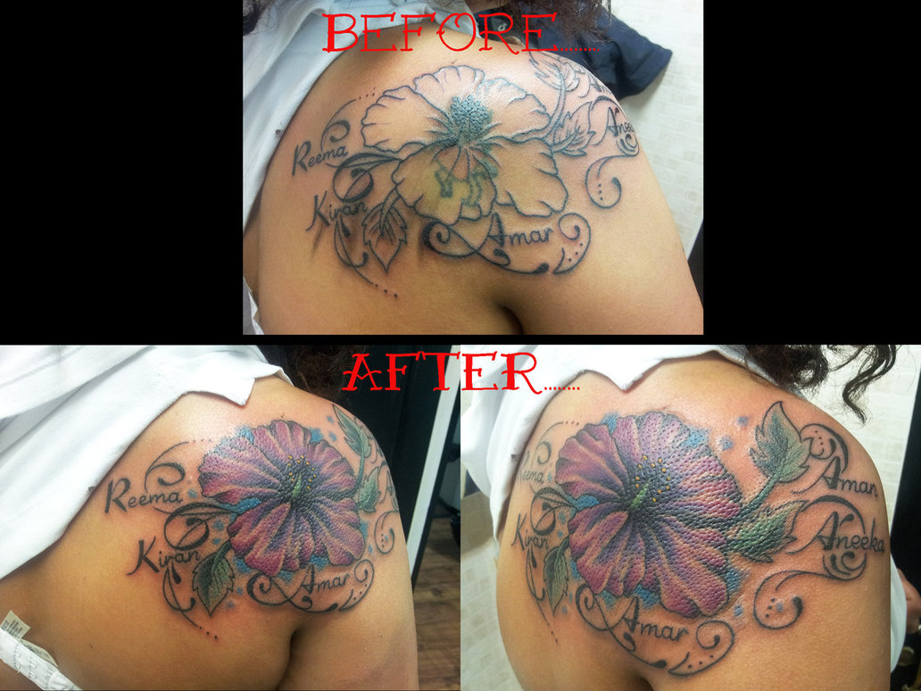 Showing picture flower tattoo design cover up