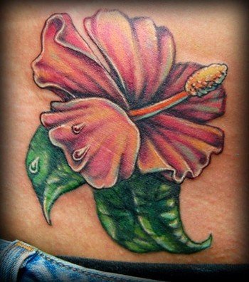 Hibiscus Flower Cover Up Tattoo