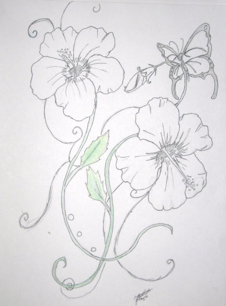 Hibiscus Flower n Butterfly Tattoo Design
