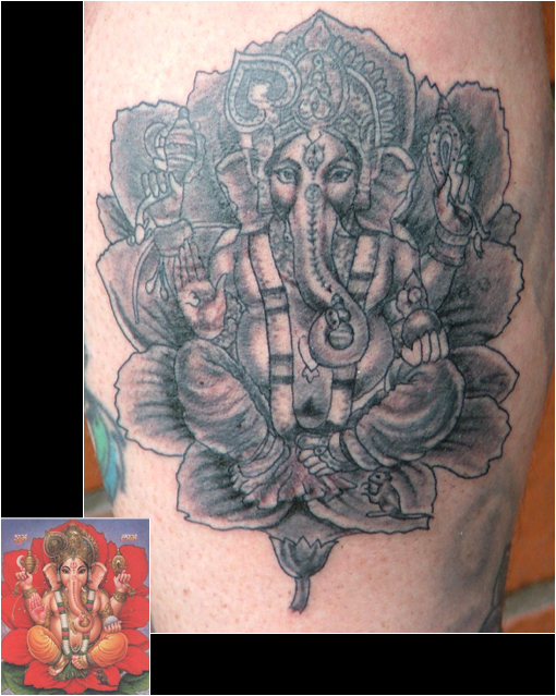 Hindu God Ganesha With Flower Tattoo Design
