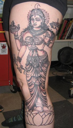 Hindu Goddess Tattoo On Leg