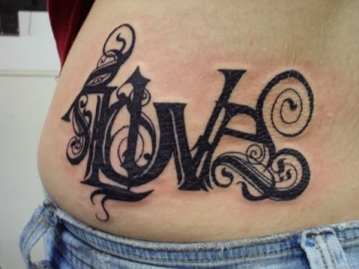 Hip Love Tattoo Design