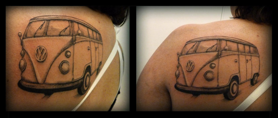Hippie Bus Tattoo On Back