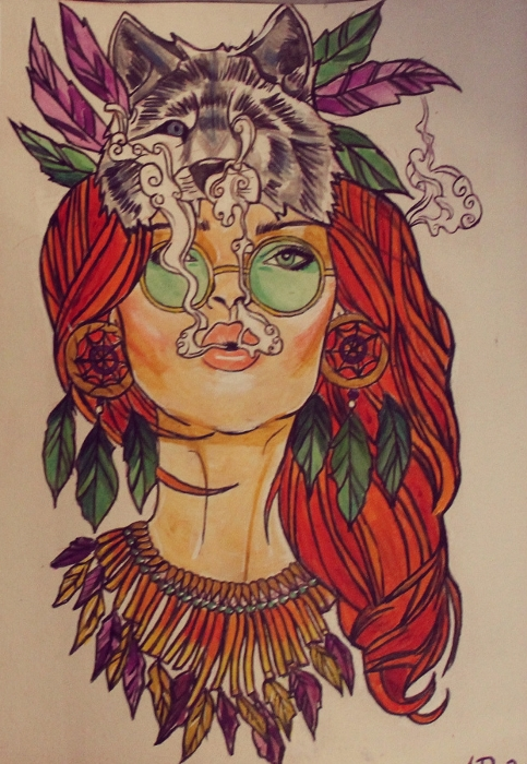 Hippie Girl Tattoo Design