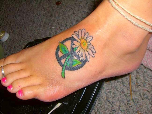 Hippie Peace Sign Tattoo On Foot