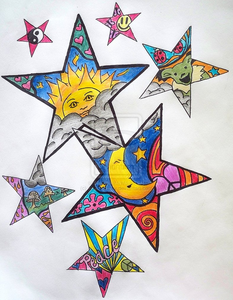 Hippie Stars Tattoo Design