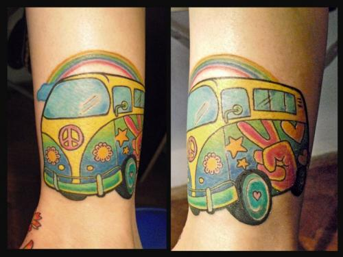 Hippie Volkswagen Tattoo Design