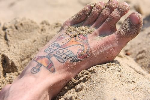 Tiny Dragonflies Tattoo On Foot