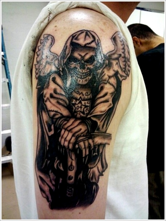 Horrifying Grim Reaper Tattoo On Right Sleeve