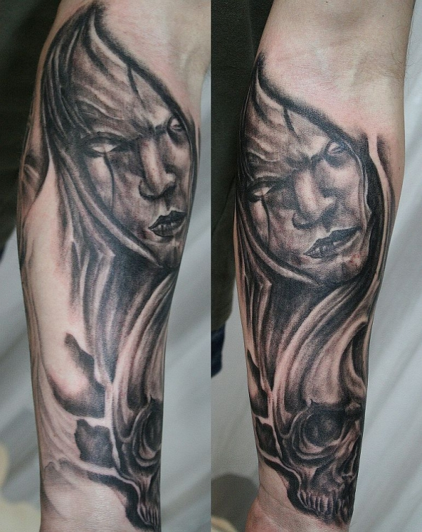 Horror Arm Tattoo Design