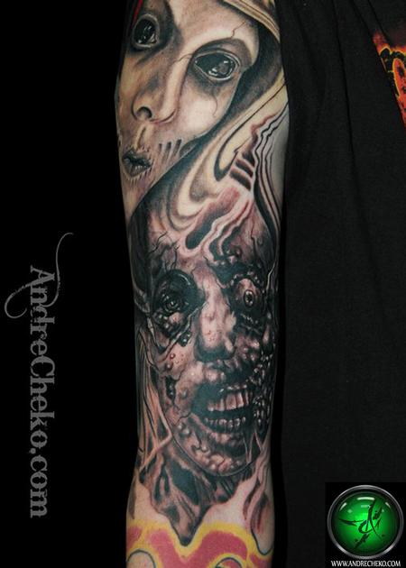 Horror Faces Tattoo On Arm