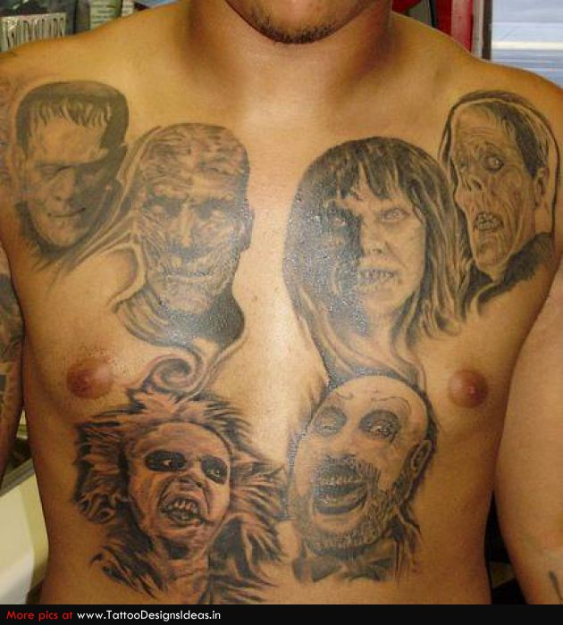 Horror Faces Tattoo On Chest For Men