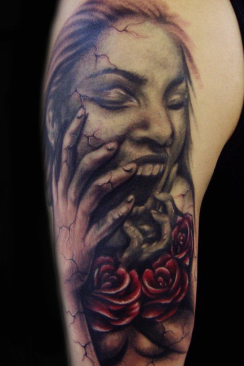 Horror Girl n Roses Tattoo On Arm