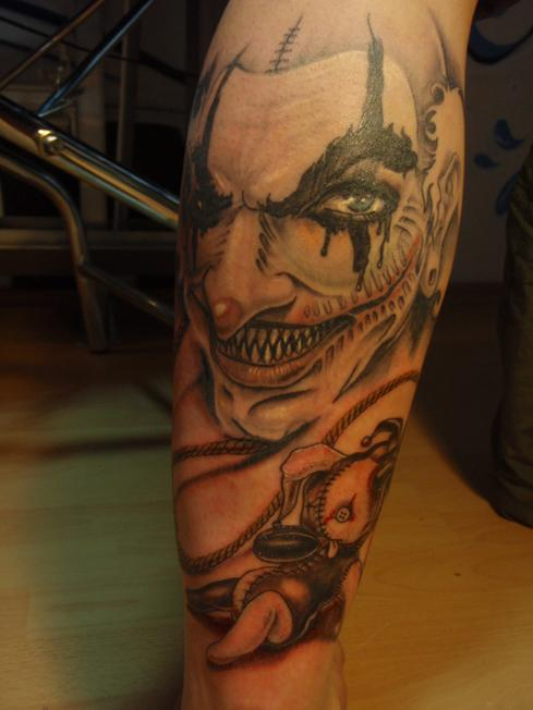 Horror Joker Tattoo On Leg