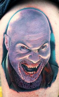 Horror Laughing Face Portrait Tattoo Design