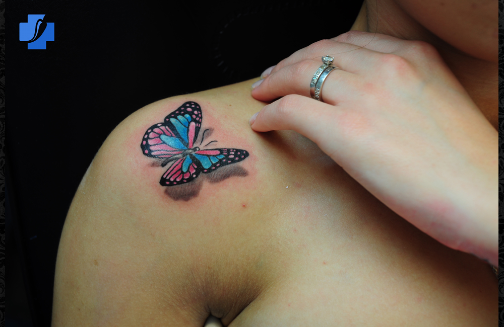 3D Butterfly Insect Tattoo On Shoulder