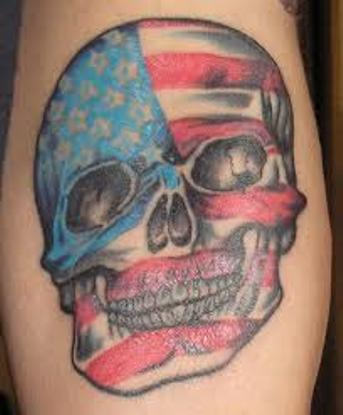 American Flag Skull Tattoo Design