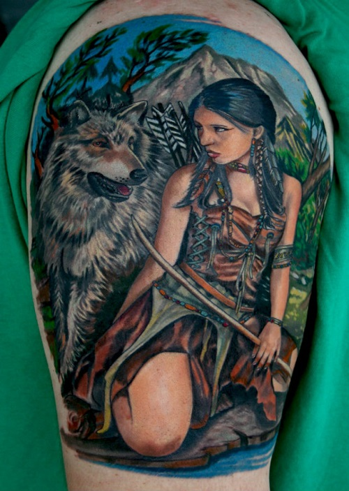 American Indian Wolf Tattoo On Shoulder
