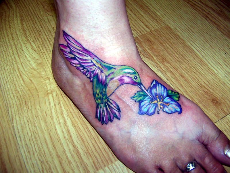 Hummingbird Tattoo On Foot Attractive Hummingbird n Blue