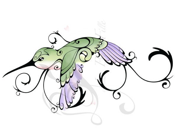 Attractive Hummingbird Tattoo Design