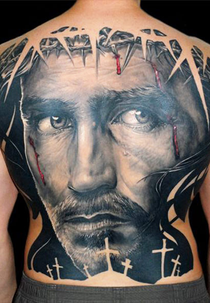 Awesome Jesus Face Portrait Tattoo On Full Back