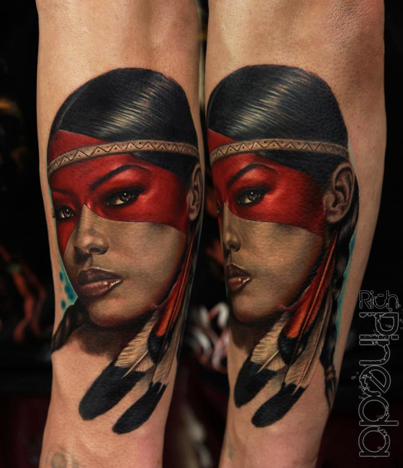 Beautiful Indian Face Portrait Tattoo Design