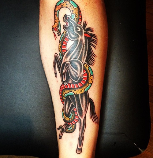 Black Horse And A Traditional Snake Tattoo Design